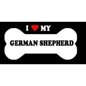 6 I Love My German Shepherd Dog Bone Vinyl Die Cut Decal