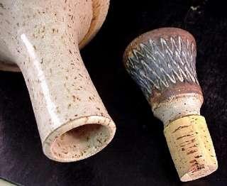 Pottery Bottle/Decanter Stopper Hand Thrown Dark Blue Brown