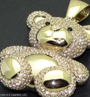 MENS XL GOLD FINISH PAVE KANYE WEST TEDDY BEAR PENDANT