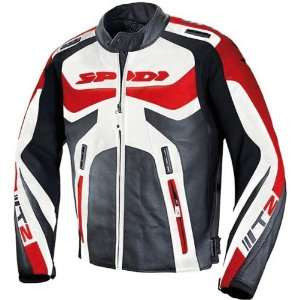 Spidi Mens Black/Red T 2 Leather Racing Jacket   Size