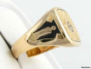Superb* Masonic Vintage Enameled Symbol Mason Ring   14k Solid Gold