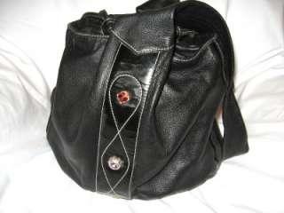 BEMI BLACK LEATHER DRAWSTRING BUCKET BAG,MADE IN ITALY