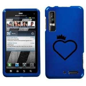MOTOROLA DROID 3 XT862 BLACK CROWN HEART ON BLUE HARD CASE
