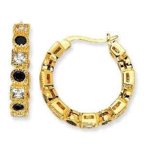 Silver Black & White CZ Hoop Earrings West Coast Jewelry Jewelry