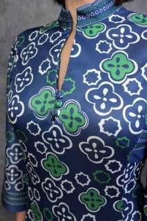 vtg 70s SPACE AGE Asian Geometric KIMONO Slvs Hostess MAXI DRESS S M