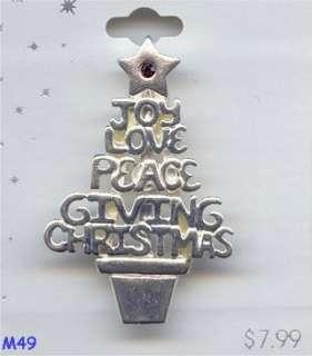 1pc. SILVER RUBY RHINESTONE JOY LOVE PEACE GIVING CHRISTMAS TREE 2