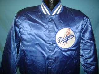 vintage LOS ANGELES LA DODGERS BLUE SHINY SATIN CHALK LINE JACKET