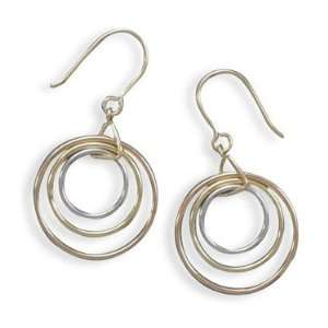 Silver, 14 Karat Gold Plate and Rose Gold Plate French Wire Earrings