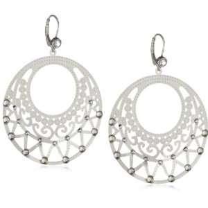 Palacios Plumas Silver Swarovski Crystallized Whimsy Hoop Earrings