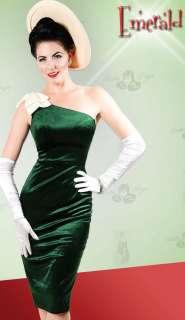 BETTIE PAGE Prom EMERALD Green Elegant Velvet Easter Pencil Wedding