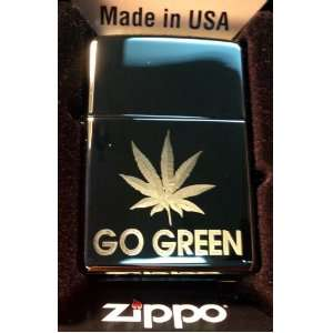 Zippo Custom Lighter   POT Weed Marijuana Ganja Leaf Go Green Logo Hi