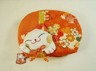 japan big size Kimono lucky cat neko makeup money case bag wallet
