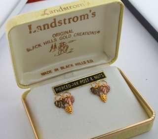 Tri Tone 10K Rose Green & Yellow Black Hills Gold Grape Leaf Earrings