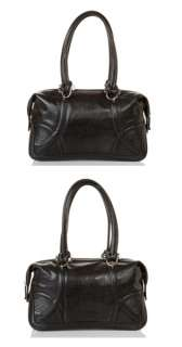 CALVIN KLEIN Black Ribbon Leather Satchel Handbag NEW