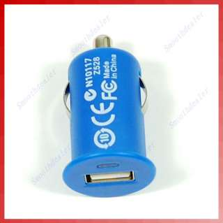 Blue USB Micro Auto Car Charger For iPod iPhone  PSP