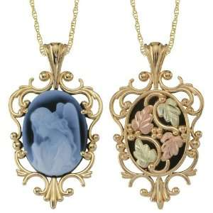 Angel Cameo Blue Agate Gold Necklace Jewelry