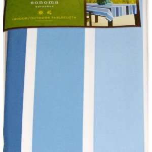 Sonoma Indoor Outdoor Blue Cabana Stripe Tablecloth Fabric Table Cloth