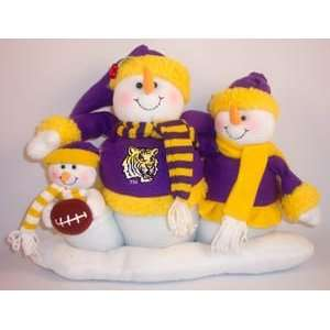 LSU LOUISIANA STATE TIGERS Snowman Family CHRISTMAS TABLE
