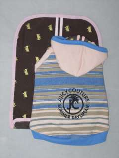 Juicy Couture French Terry Stripe Dog Hoodie SUPER CUTE