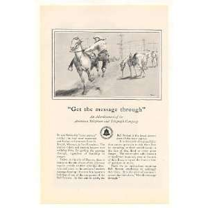 1928 AT&T Bell Telephone System Pony Express Rider Print