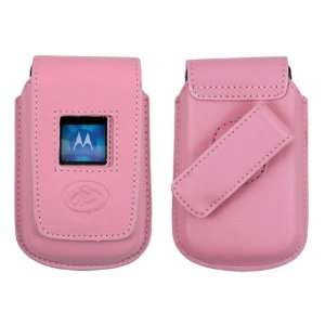 New Pink Cell Phone Vertical Premium Leather Holster Case For Motorola