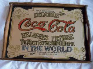 COCA COLA MIRROR TRAY VINTAGE RELIEVES FATIGUE DELICIOUS 5 CENTS COKE