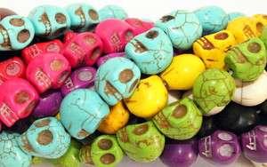Howlite SUGAR SKULLS Gemstone Beads 1 strand lot of 33
