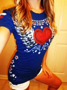 Buckle Store SINFUL Blue Red Hot Glitter Heart #13 Angel Wing T Shirt