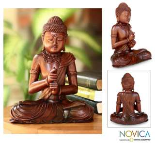 BUDDHA Hand Carved Wood Statue Bali Art NOVICA