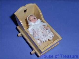 DOLLHOUSE FURNITURE **GORGEOUS ROCKING CRADLE & PORCELAIN BABY