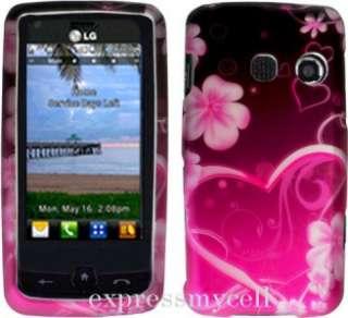 LCD Screen + PINK HEART Hard Case Cover 4 Straight Talk LG511C LG 511C