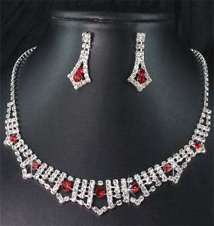 Bridal Bridesmaid Crystal Necklace Earrings Set Prom 59