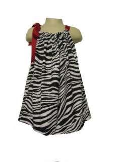 Handmade Zebra Baby&Girls Pillowcase Dress Red Ribbon