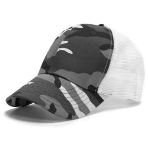 Grey Camouflage & White 6 Panel Mesh Trucker Adjustable Baseball Cap
