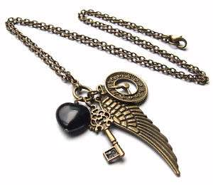 Bronze Wing/Key/Clock/Heart, Steampunk Charm Necklace