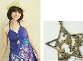 Vintage Brass Flower.Bird.Butterfly.Star Necklace N288