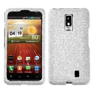 For LG Spectrum Crystal Diamond BLING Case Snap On Phone Cover Silver