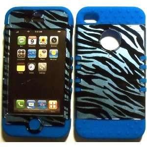 Blue Zebra on Blue Silicone for Apple iPhone 4 4S Hybrid 2 in 1 Rubber