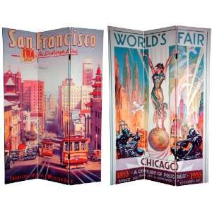 Tall Double Sided San Francisco/Chicago Room Divider