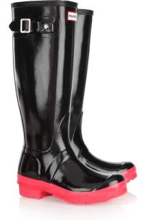 HUNTER ORIGINAL PINK NEON SOLED TALL BLACK WELLINGTON BOOTS Welly