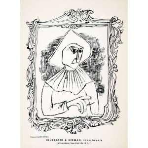 1955 Lithograph Ben Shahn Modern Portrait Frame Art