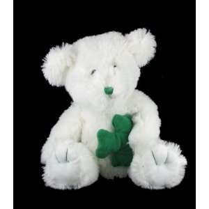 Plush 10 Stuffed White Teddy Bear w/ Shamrock Toys & Games