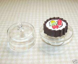 Covered Cake Plate w/Lovely Cake #1 DOLLHOUSE Mini B 4