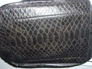 LANCETTI Slate Gray/Taupe Croc Embossed Design Large Slouchy Chain