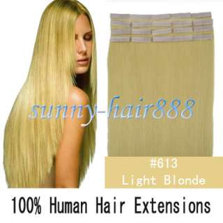 16 Long Remy Tape skin human hair extensions #613 Light blonde,30g