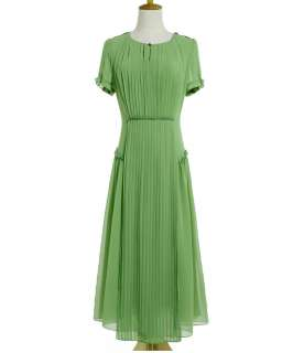 sleeve pleated summer long maxi dress green chiffon size XS S M L XL