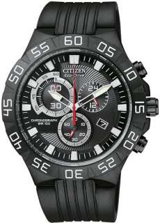 07E Mens Watch Black Dial Eco Drive Chronograph Rubber Strap