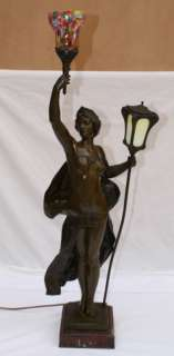19C FRENCH F. BARBEDIENNE BRONZE LAMP SINGED