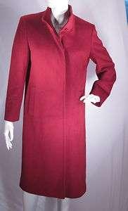 Cinzia Rocca Dark Cranberry Red Italy Wool Cashmere Angora Coat Sz 44