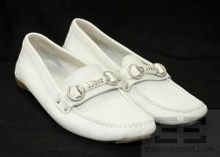 Christian Dior White Leather & Silver Logo Driving Loafers Size 37